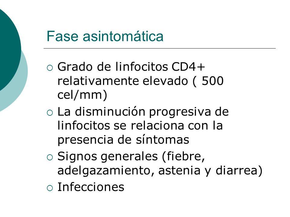 Fase asintomática Grado de linfocitos CD4+ relativamente elevado ( 500 cel/mm)
