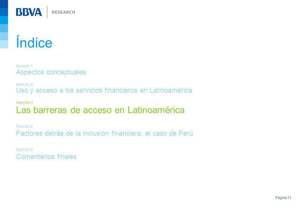 Índice Las barreras de acceso en Latinoamérica Aspectos conceptuales