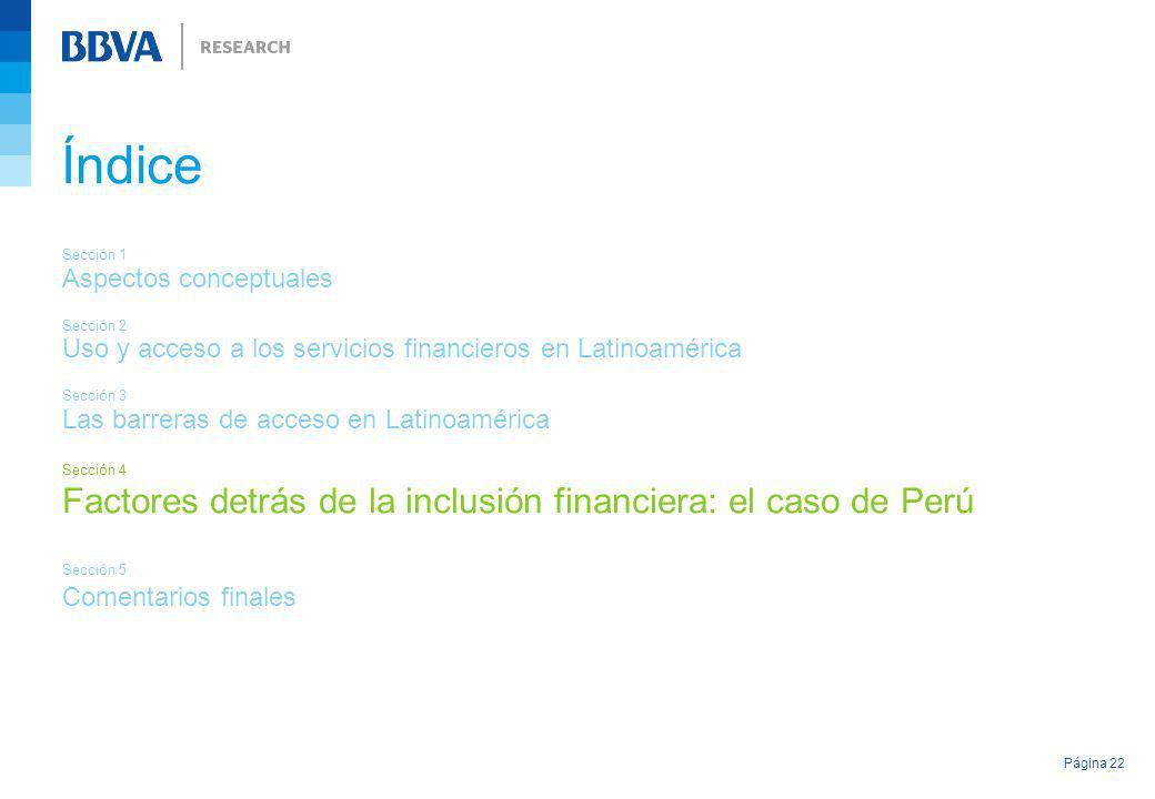 Índice Factores detrás de la inclusión financiera: el caso de Perú