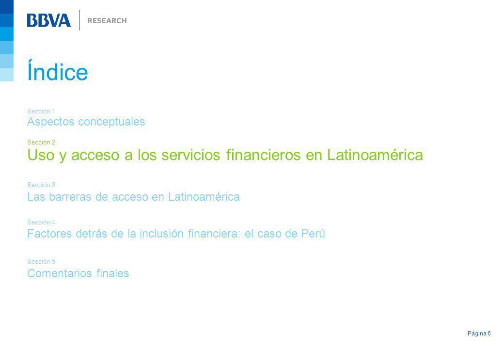 Índice Uso y acceso a los servicios financieros en Latinoamérica