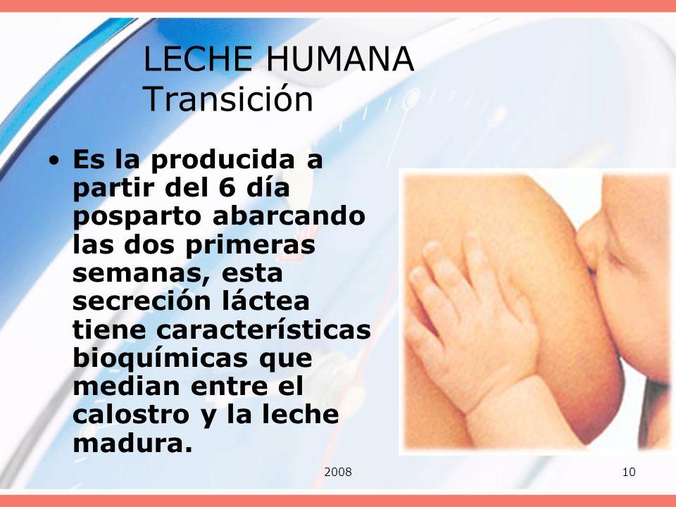 LECHE HUMANA Transición