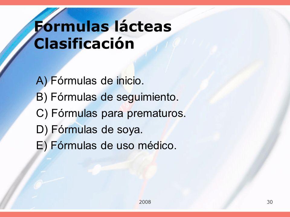 Formulas lácteas Clasificación