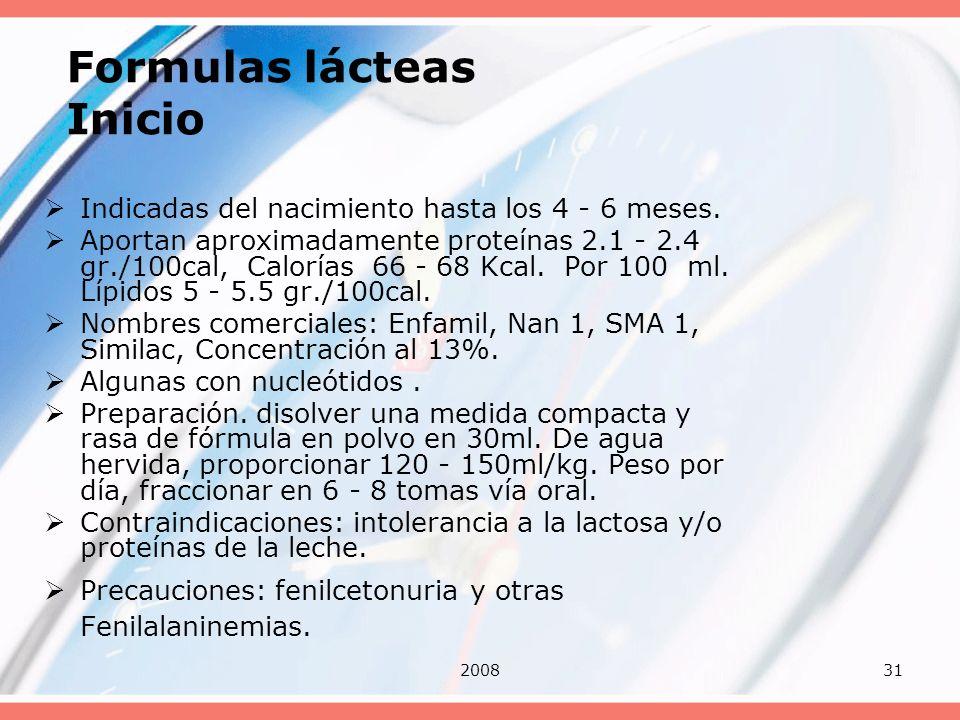 Formulas lácteas Inicio