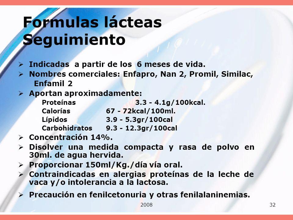 Formulas lácteas Seguimiento