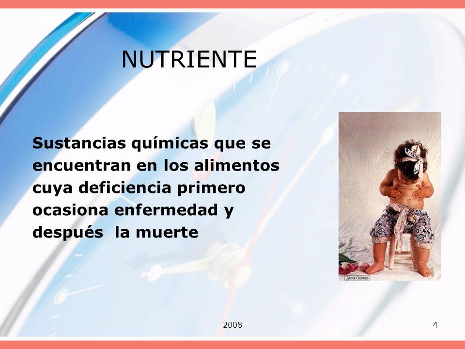 NUTRIENTE Sustancias químicas que se encuentran en los alimentos