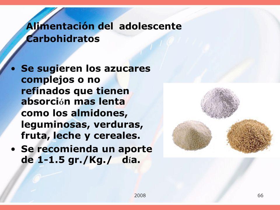 Alimentación del adolescente Carbohidratos