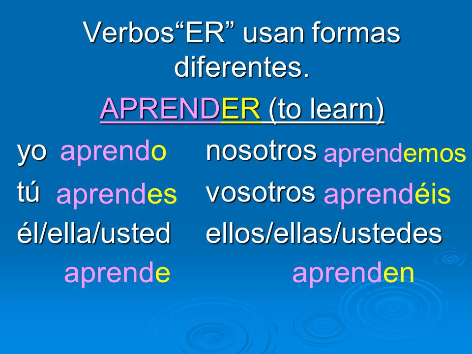 Verbos ER usan formas diferentes.