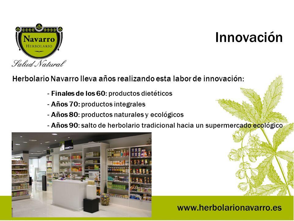 Innovación Herbolario Navarro lleva años realizando esta labor de innovación: - Finales de los 60: productos dietéticos.