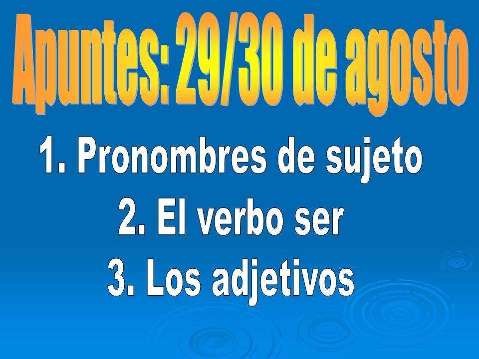 Apuntes: 29/30 de agosto 1. Pronombres de sujeto 2. El verbo ser 3. Los adjetivos