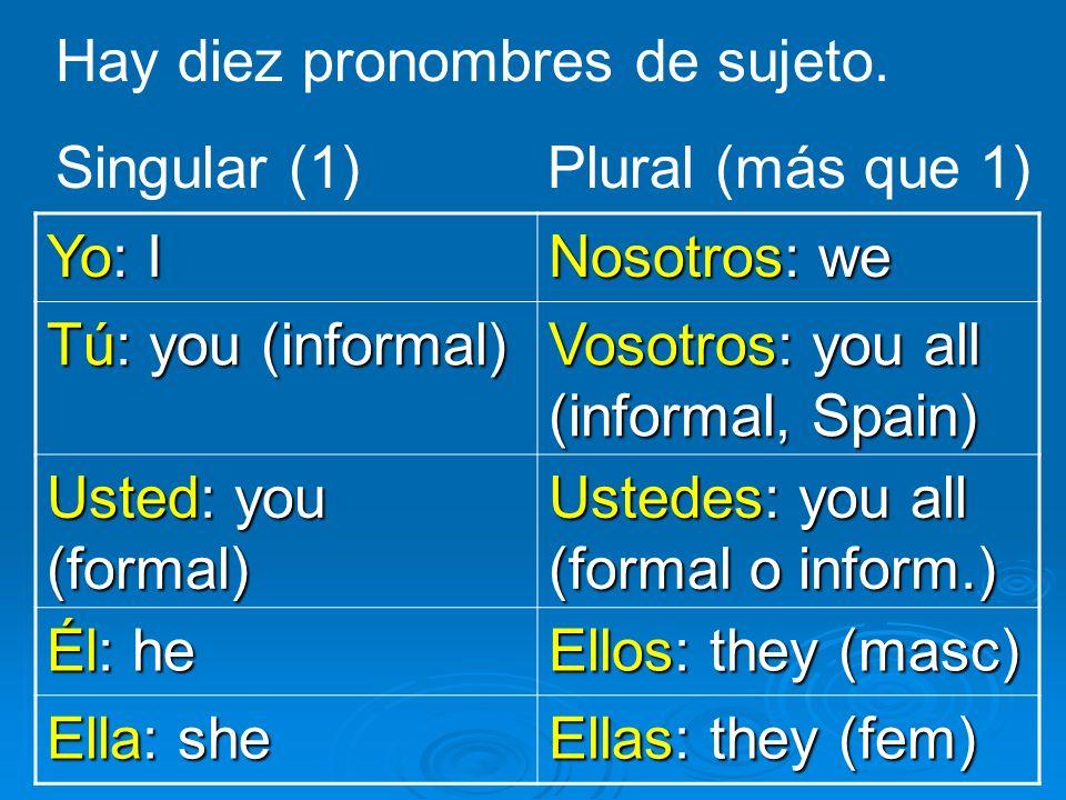 Hay diez pronombres de sujeto.