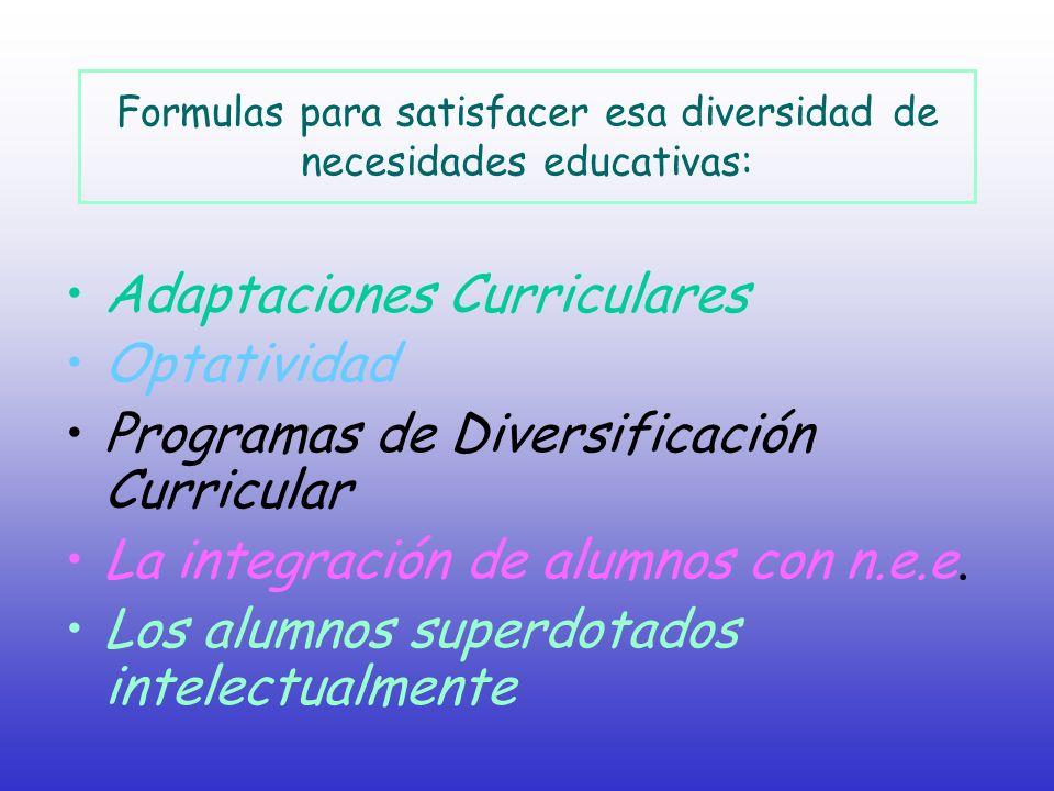 Formulas para satisfacer esa diversidad de necesidades educativas:
