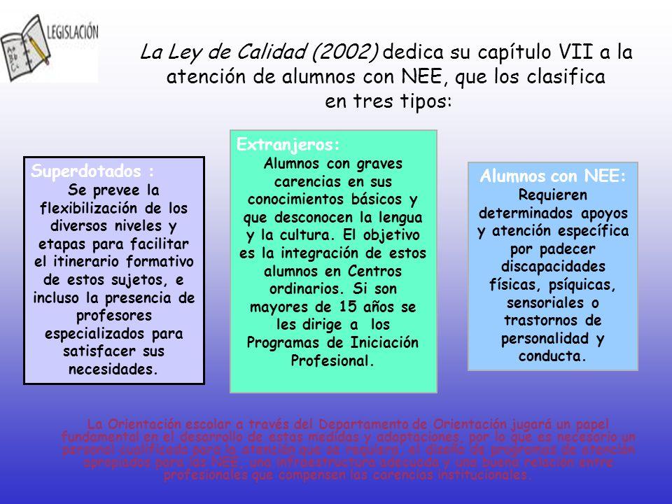 La Ley de Calidad (2002) dedica su capítulo VII a la atención de alumnos con NEE, que los clasifica en tres tipos: