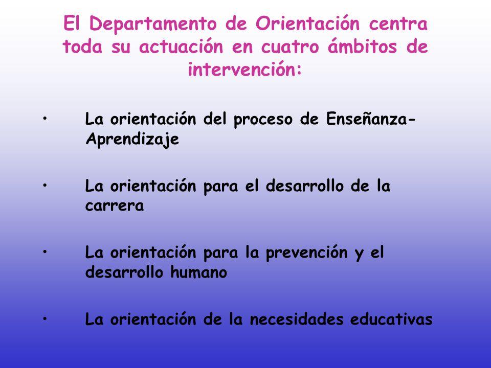 El Departamento de Orientación centra toda su actuación en cuatro ámbitos de intervención: