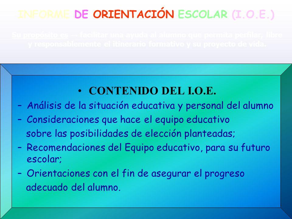 INFORME DE ORIENTACIÓN ESCOLAR (I.O.E.)
