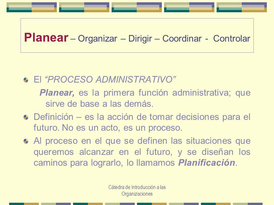 Planear – Organizar – Dirigir – Coordinar - Controlar