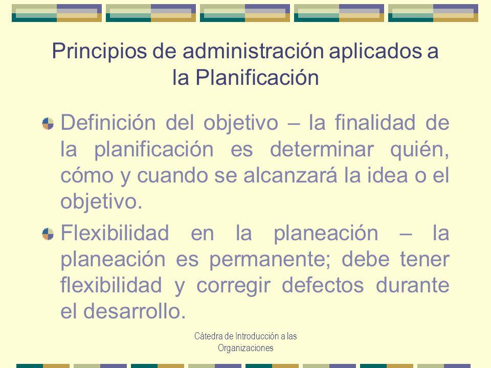 Principios de administración aplicados a la Planificación