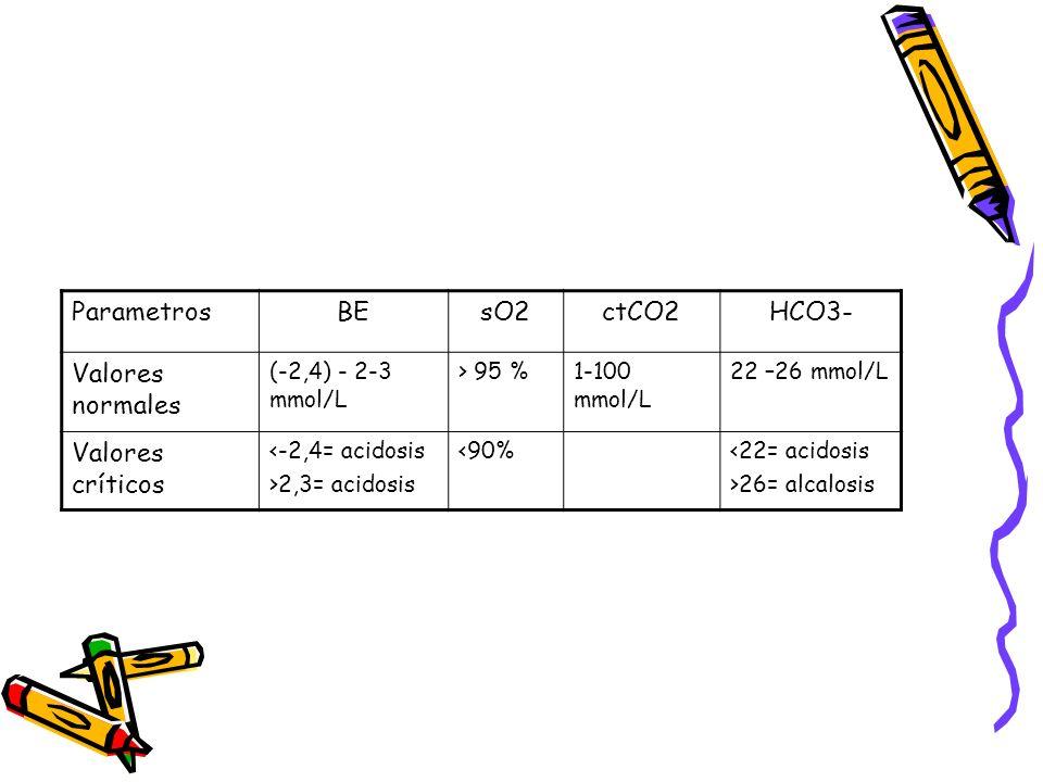 Parametros BE sO2 ctCO2 HCO3- Valores normales Valores críticos