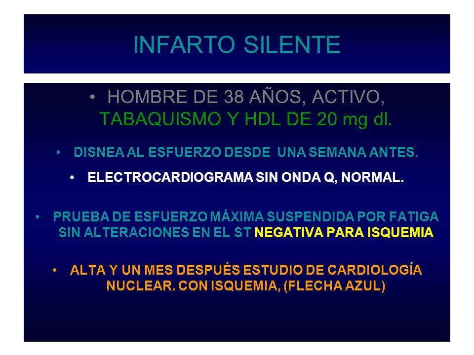 INFARTO SILENTE HOMBRE DE 38 AÑOS, ACTIVO, TABAQUISMO Y HDL DE 20 mg dl. DISNEA AL ESFUERZO DESDE UNA SEMANA ANTES.