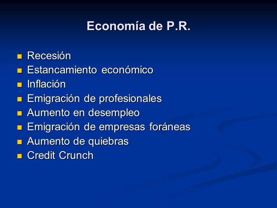 Economía de P.R. Recesión Estancamiento económico Inflación