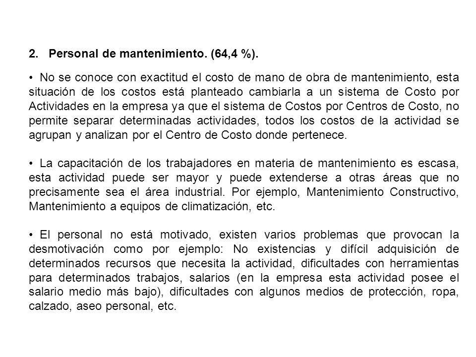 2. Personal de mantenimiento. (64,4 %).