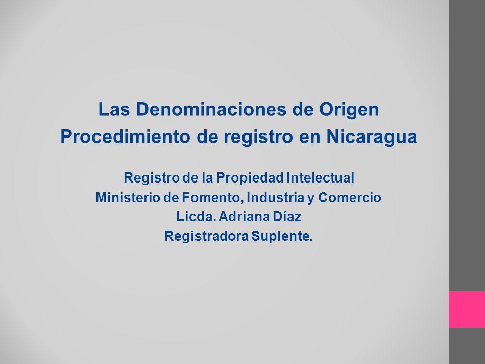 Las Denominaciones de Origen Procedimiento de registro en Nicaragua