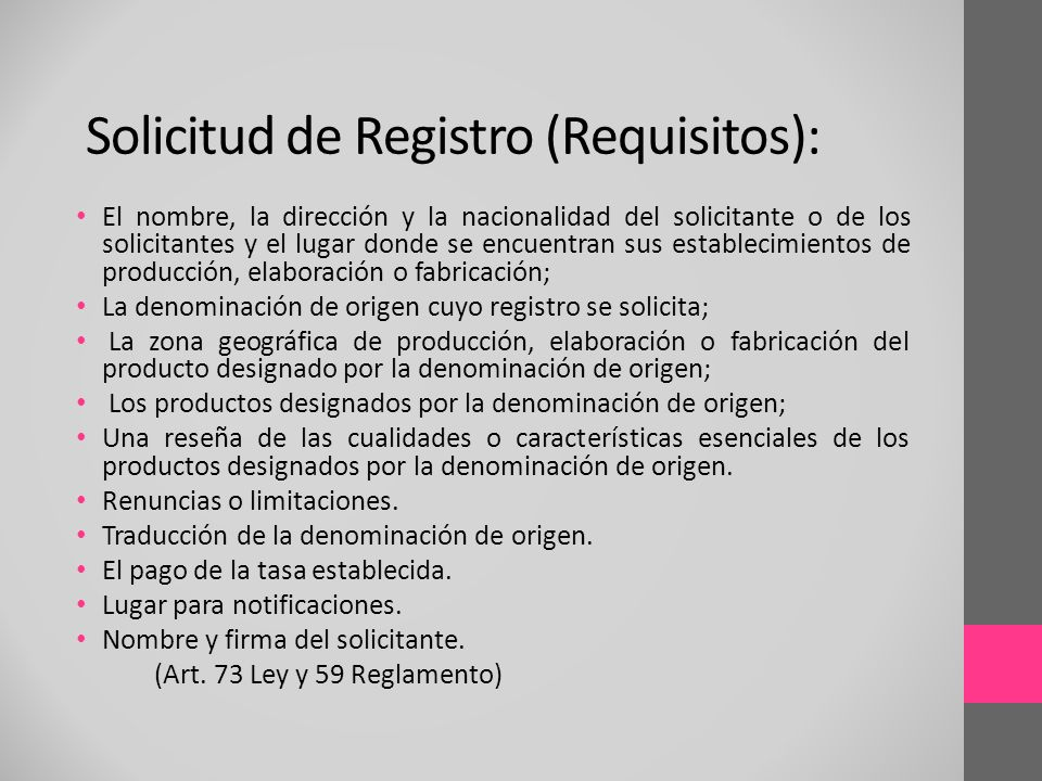 Solicitud de Registro (Requisitos):