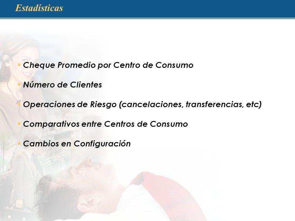 Estadísticas Cheque Promedio por Centro de Consumo Número de Clientes