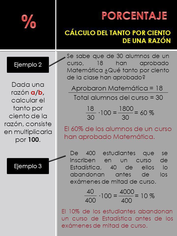 % PORCENTAJE CÁLCULO DEL TANTO POR CIENTO DE UNA RAZÓN