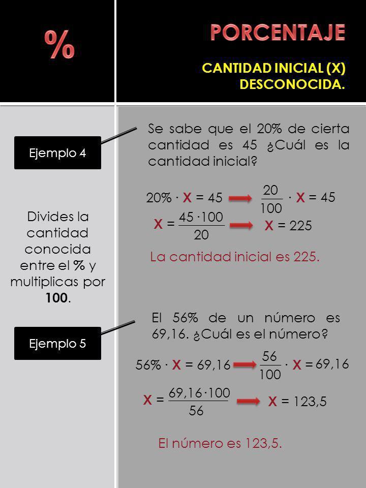 Divides la cantidad conocida entre el % y multiplicas por 100.