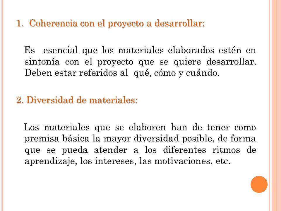 1. Coherencia con el proyecto a desarrollar: