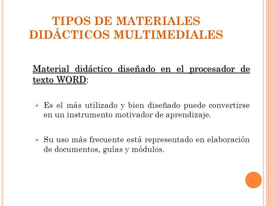 TIPOS DE MATERIALES DIDÁCTICOS MULTIMEDIALES