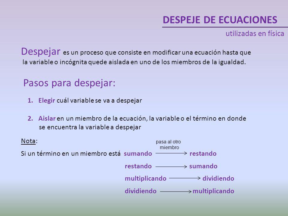 DESPEJE DE ECUACIONES utilizadas en física. Despejar es un proceso que consiste en modificar una ecuación hasta que.
