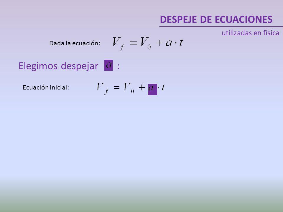 DESPEJE DE ECUACIONES Elegimos despejar : utilizadas en física