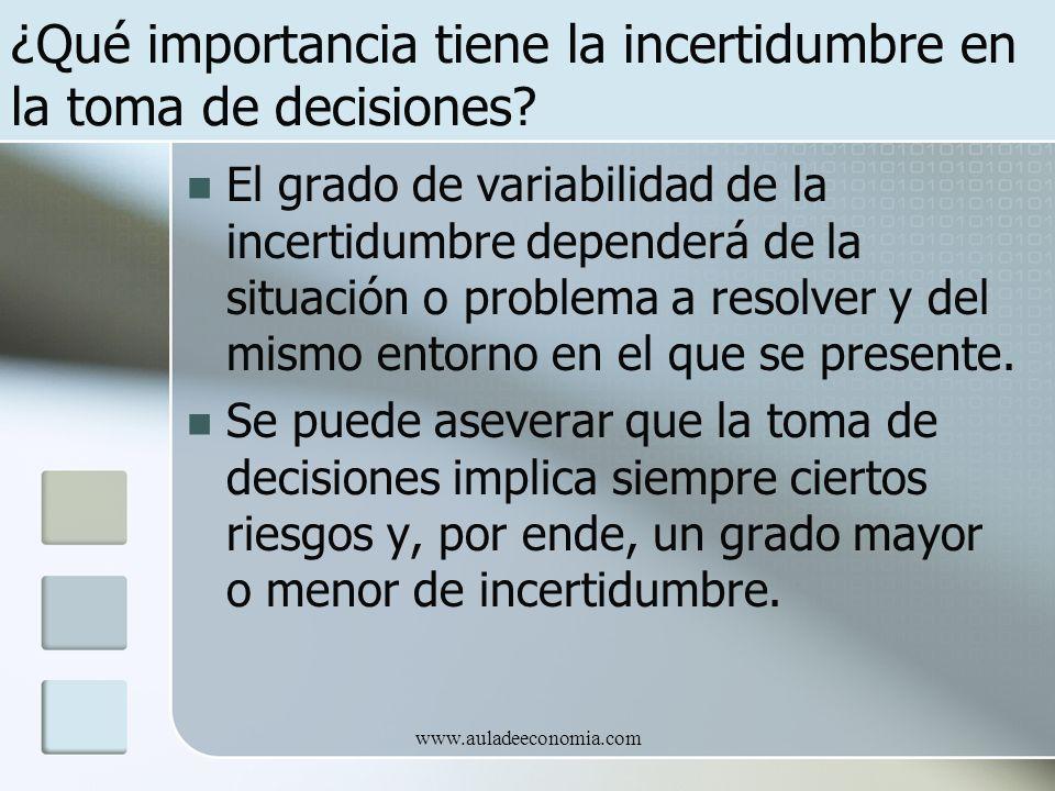 ¿Qué importancia tiene la incertidumbre en la toma de decisiones