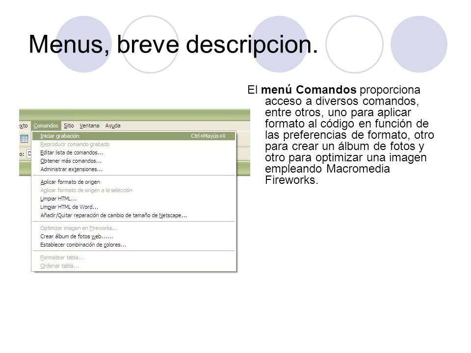 Menus, breve descripcion.
