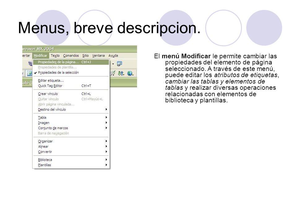 Menus, breve descripcion.