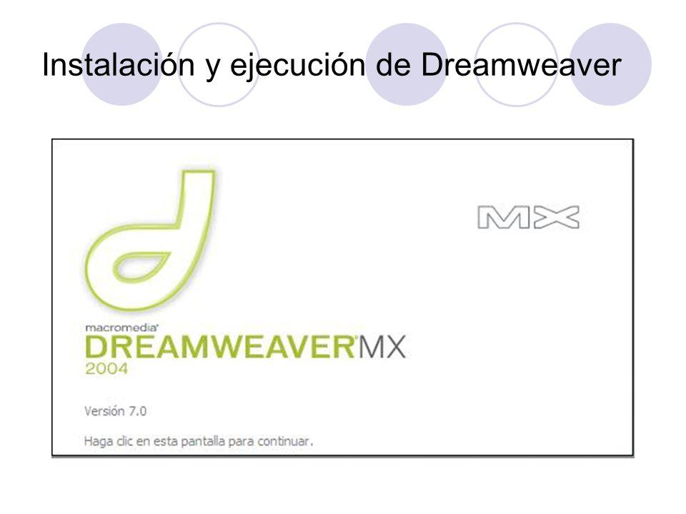 Instalación y ejecución de Dreamweaver