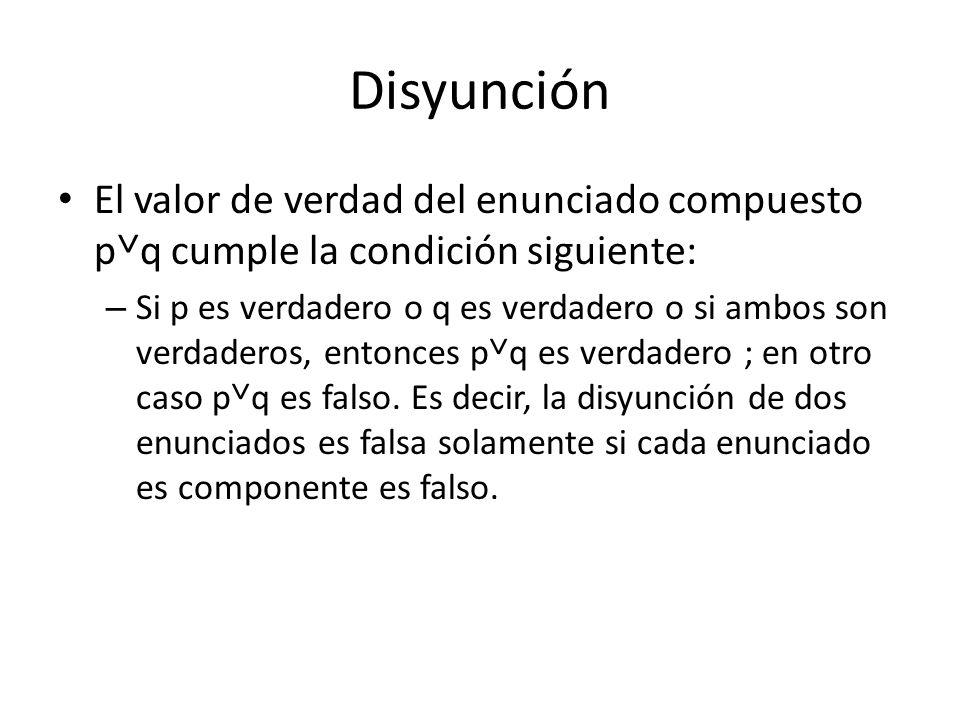 Disyunción El valor de verdad del enunciado compuesto p˅q cumple la condición siguiente: