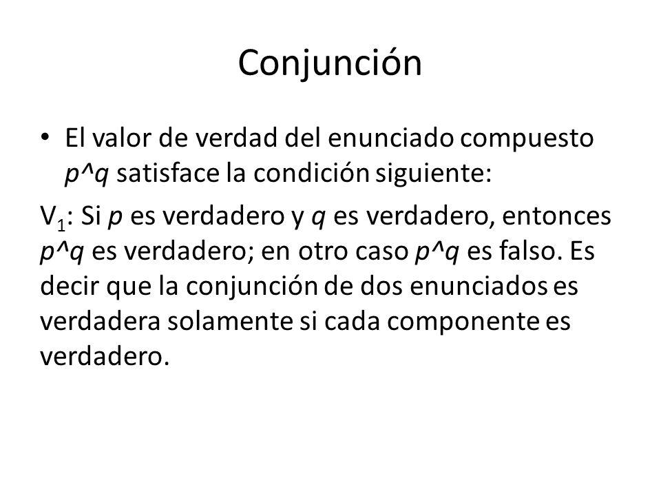 Conjunción El valor de verdad del enunciado compuesto p^q satisface la condición siguiente:
