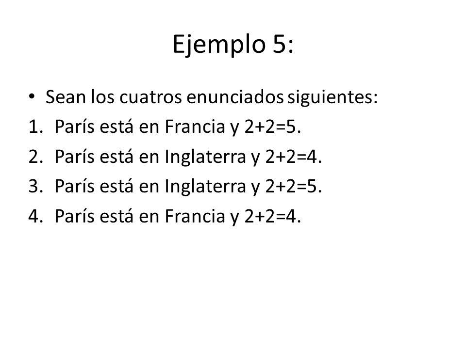 Ejemplo 5: Sean los cuatros enunciados siguientes: