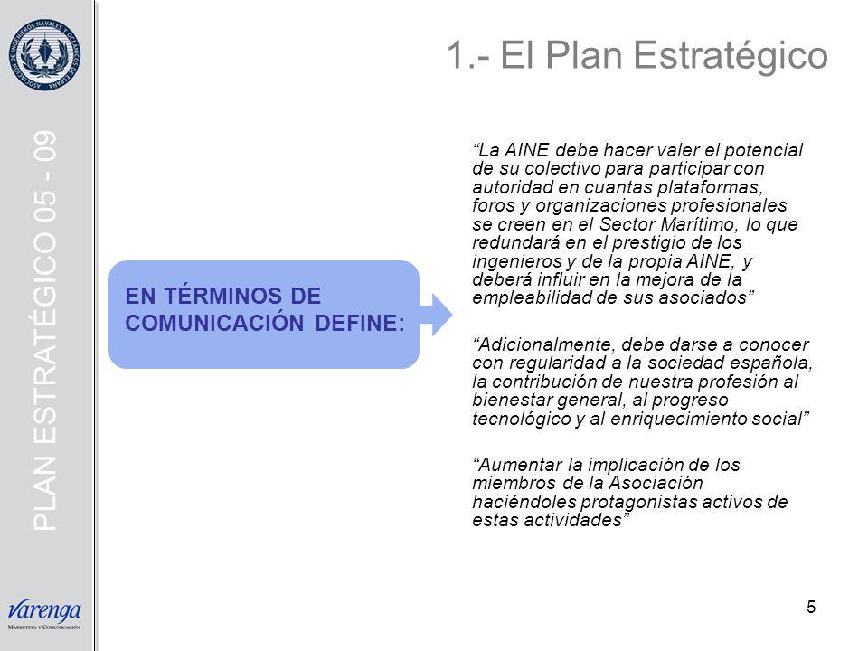 1.- El Plan Estratégico PLAN ESTRATÉGICO 05 - 09 EN TÉRMINOS DE