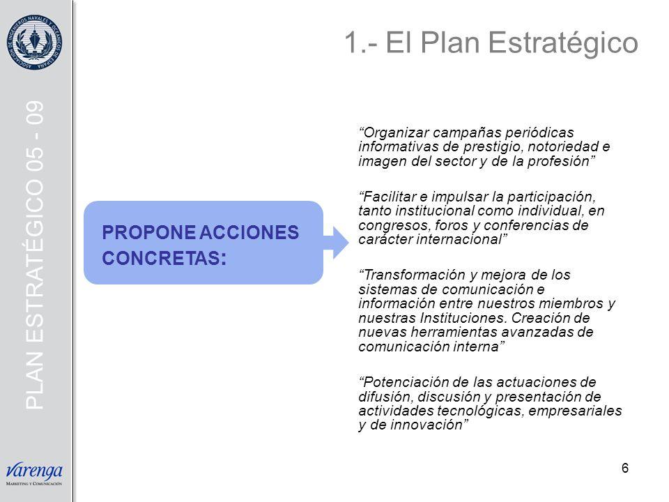 1.- El Plan Estratégico PLAN ESTRATÉGICO 05 - 09 PROPONE ACCIONES