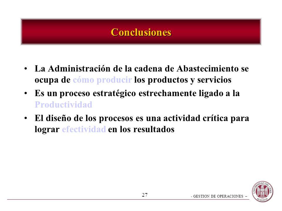 Conclusiones La Administración de la cadena de Abastecimiento se ocupa de cómo producir los productos y servicios.
