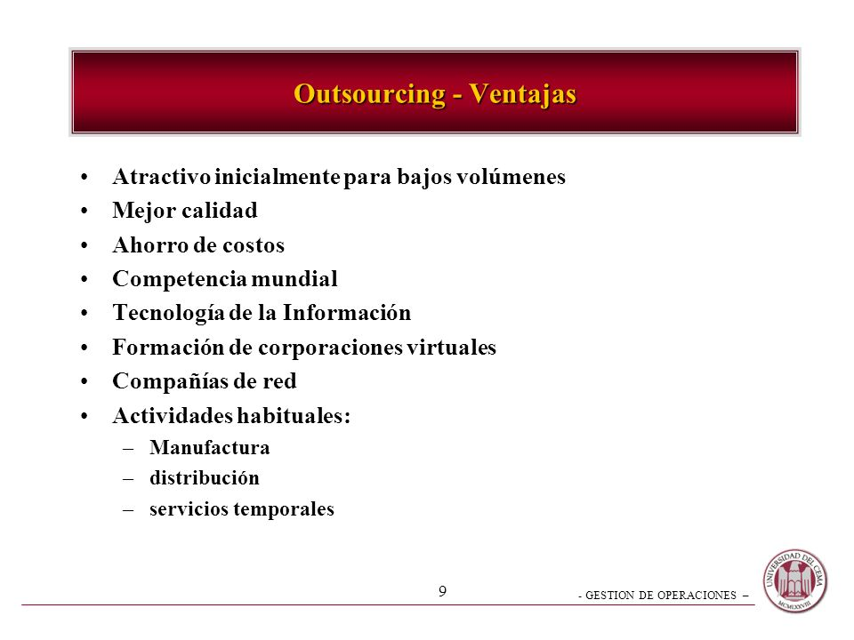 Outsourcing - Ventajas