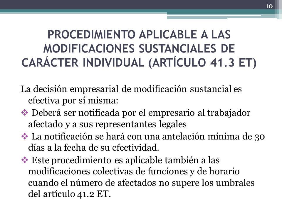 PROCEDIMIENTO APLICABLE A LAS MODIFICACIONES SUSTANCIALES DE CARÁCTER INDIVIDUAL (ARTÍCULO 41.3 ET)