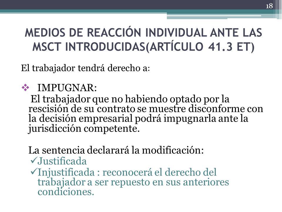 MEDIOS DE REACCIÓN INDIVIDUAL ANTE LAS MSCT INTRODUCIDAS(ARTÍCULO 41