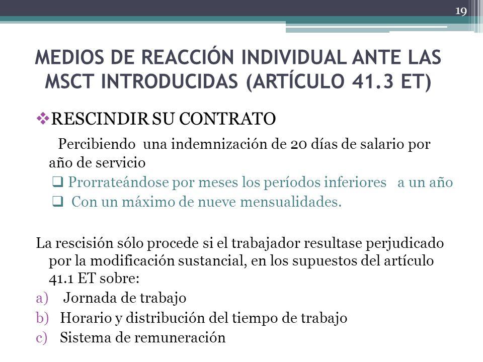 MEDIOS DE REACCIÓN INDIVIDUAL ANTE LAS MSCT INTRODUCIDAS (ARTÍCULO 41