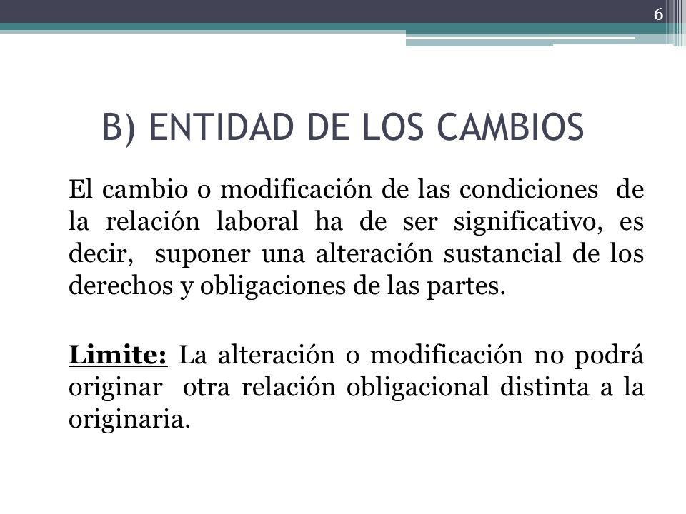 B) ENTIDAD DE LOS CAMBIOS