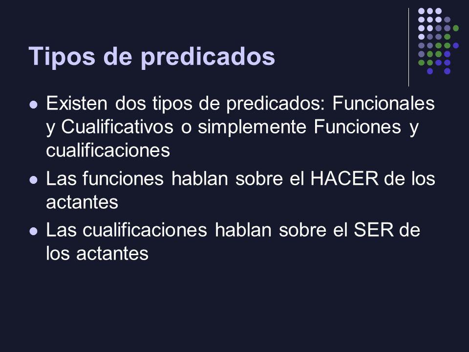 Tipos de predicados Existen dos tipos de predicados: Funcionales y Cualificativos o simplemente Funciones y cualificaciones.