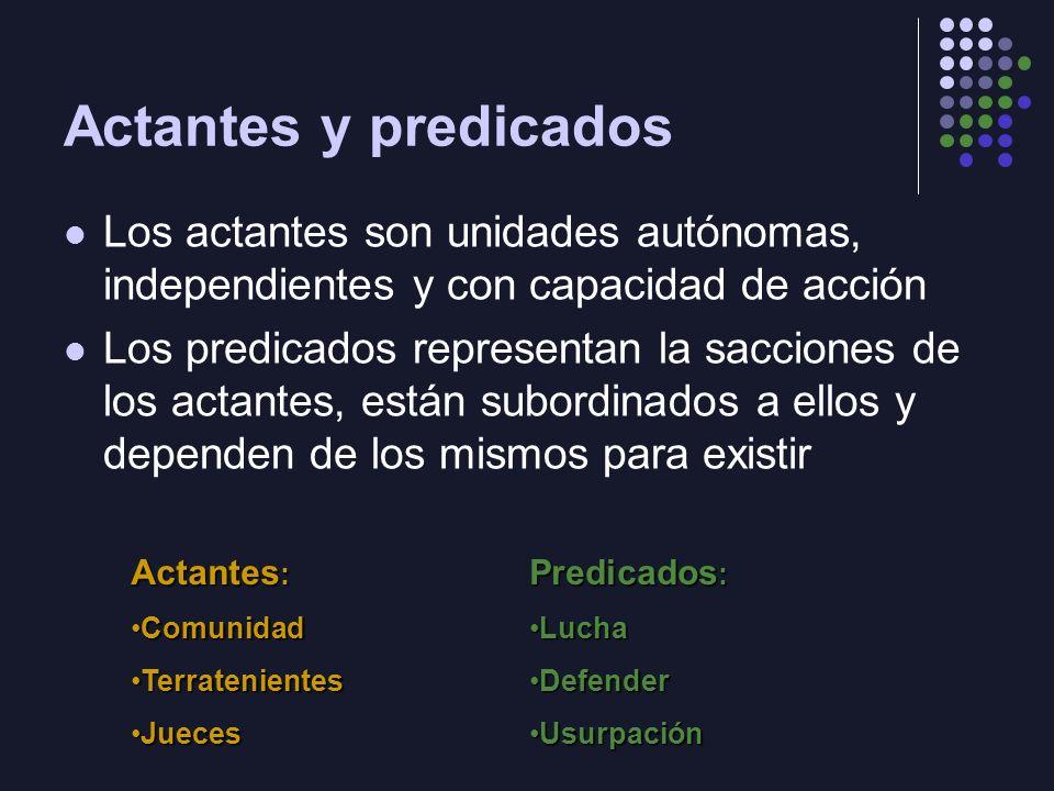 Actantes y predicados Los actantes son unidades autónomas, independientes y con capacidad de acción.